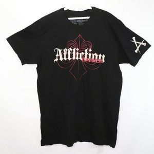 Affliction Banned MMA Fighting Spell Out Shirt XL